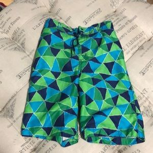 Gymboree blue and green swim trunks size 8
